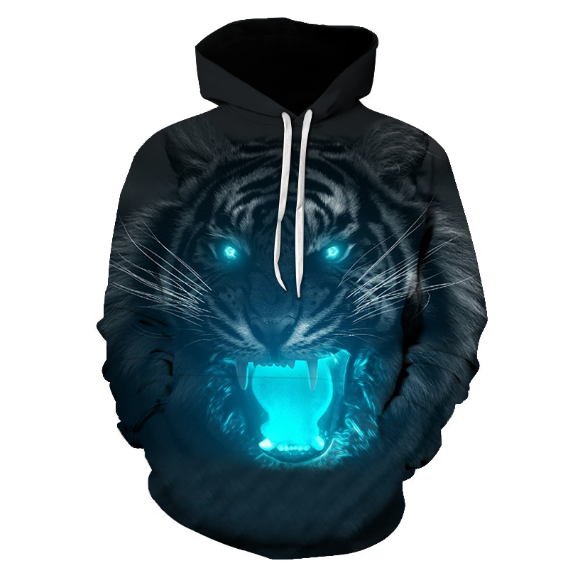 2019 Fluorescent Tiger 3D Printed Hoodies Men Women Hooded Sweatshirts Harajuku Pullover Jackets Brand Quality Outwear Tracksuit
