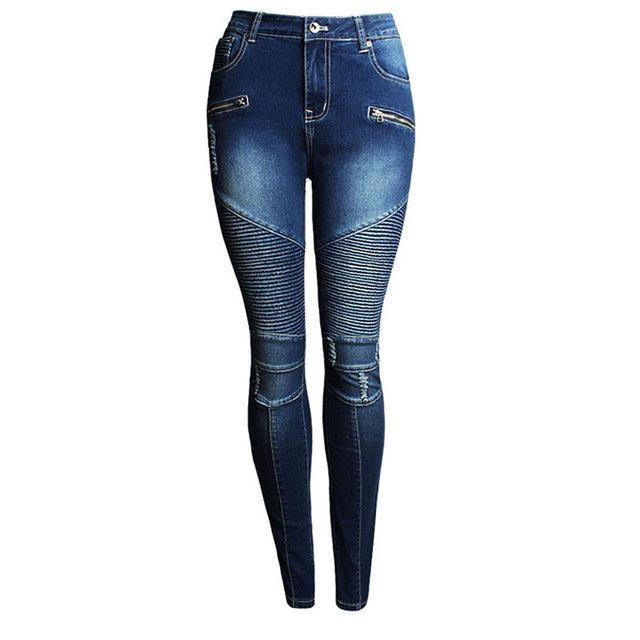 Mulheres Calças De Brim Da Motocicleta Motociclista Zip Meados Motor de Calça Jeans de Cintura Alta Estiramento Skinny Demin Para As Mulheres