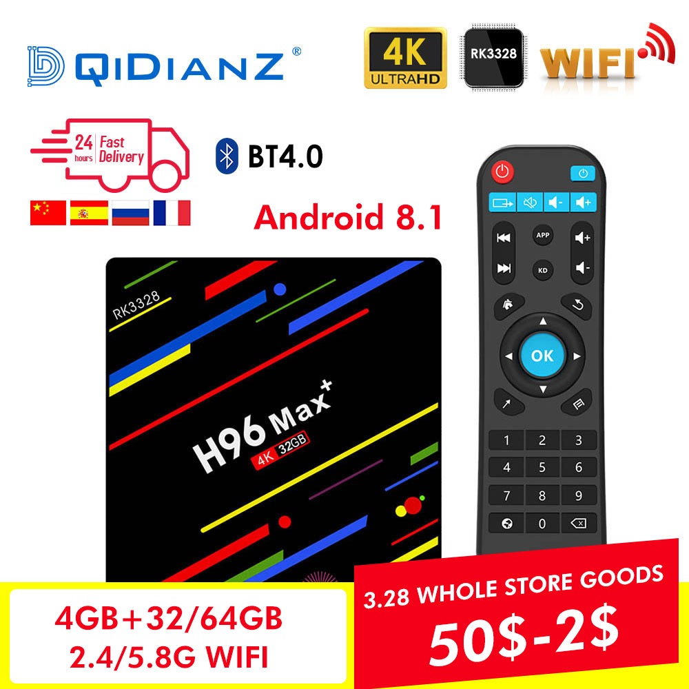 H96MAX + Android Smart TV box 8,1 RK3328 Quad Core 4 GB Ram 32 GB/64 GB Rom 4 K H.265 USB3.0 IPTV H96max plus Netflix Set Top Box