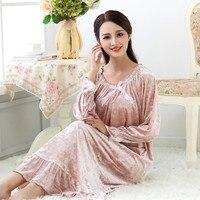 Nightgowns For Women Long sleeve Velvet noble Nightdress Sleepwear Womens sleep nightshirt Loose Ladies nightshirt