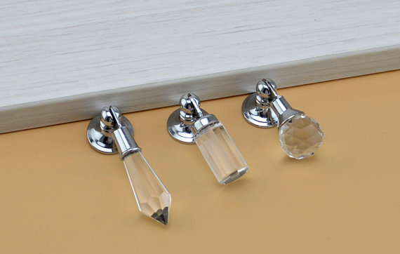 Glass Crystal Drawer Knobs Drop Sparkly Dresser Handles Knobs Decorative Silver Chrome Furniture Hardware Cupboard Pull Handles css clear crystal glass cabinet drawer door knobs handles 30mm