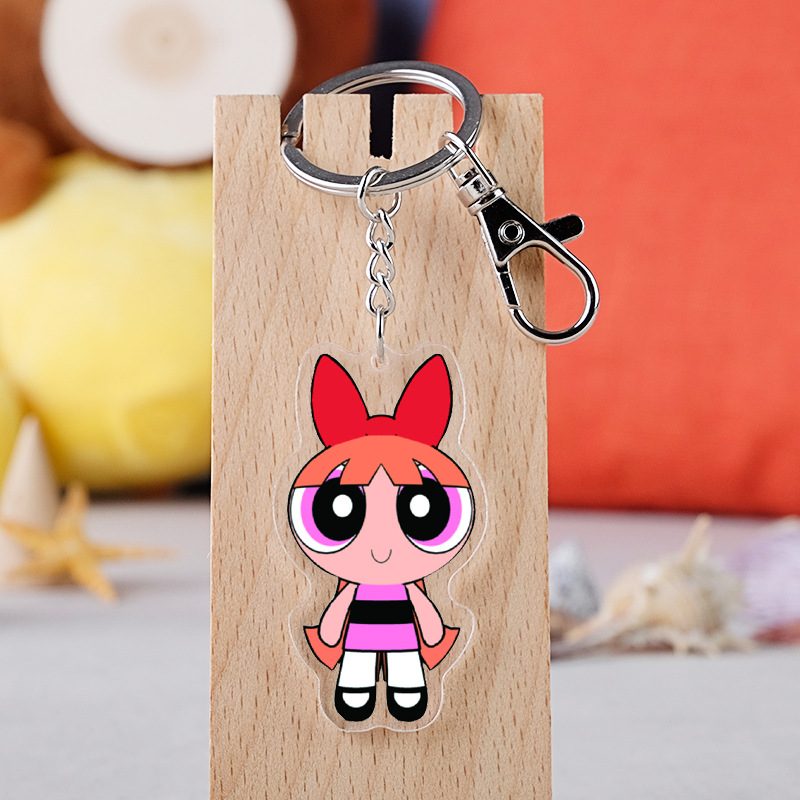 Anime The Powerpuff Girls Cartoon Figure Car Key Chains Holder Best Friend Graduation Christmas Day Gift image