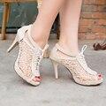 2017 sapatos de salto alto mulheres sandálias de verão peep toe sapatos de casamento sexy de salto stiletto mulheres bombas de rendas até sapatos preto vermelho sandalias