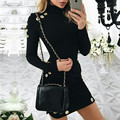 Новая Мода выдалбливают отверстия dress Элегантный черный с длинным рукавом short dress Женщины тонкий party club sexy dress vestidos де fiesta