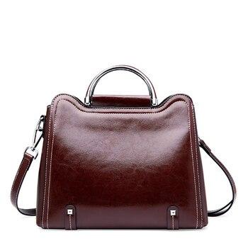 Brand Fashion Genuine Leather Bag Women Handbag Luxury Designer Crossbody Bags for Women Black Tote Lady Purses
