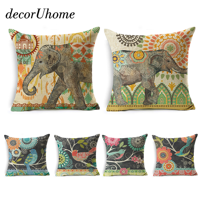 decorUhome Cartoon Pillow Cover India Elephant Retro Bird With