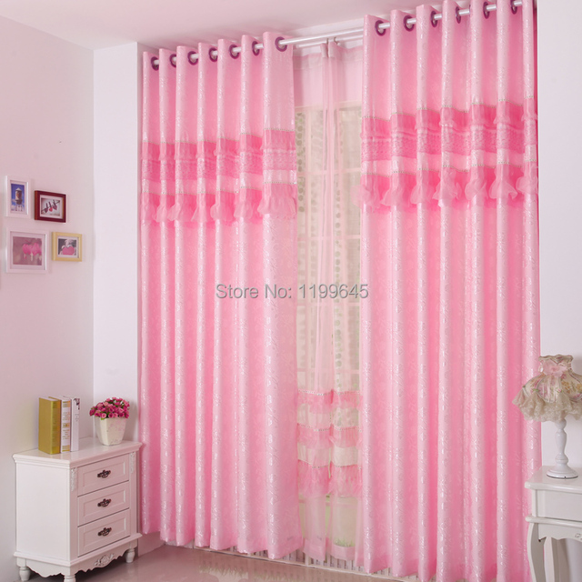 Blinds Classic Pink Cotton Ceremonized Jacquard Lace Curtain Window Screening The Wedding Romantic Free Shipping