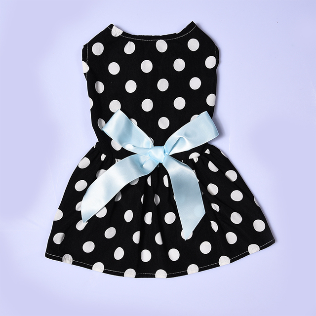 Summer Pet Dog Dress Polyester White Dotted Pet Princess Dress Cute Dogs Skirt Dresses With Bow-knot Puppy Pets Clothes XS/S/M/L