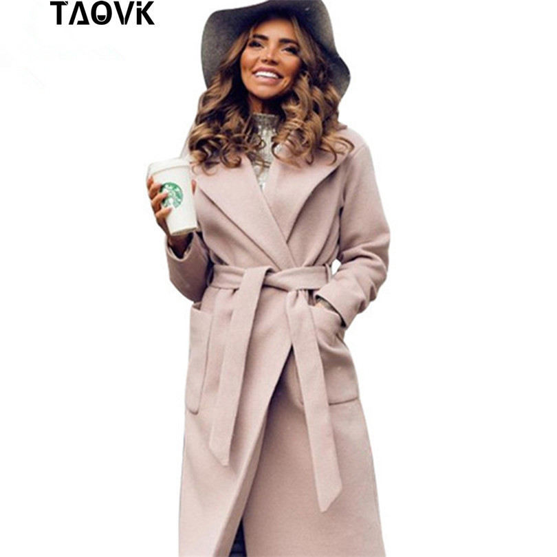 TAOVK Women woolen Long sleeve Medium-long notched collar open front parka belt Coat 1