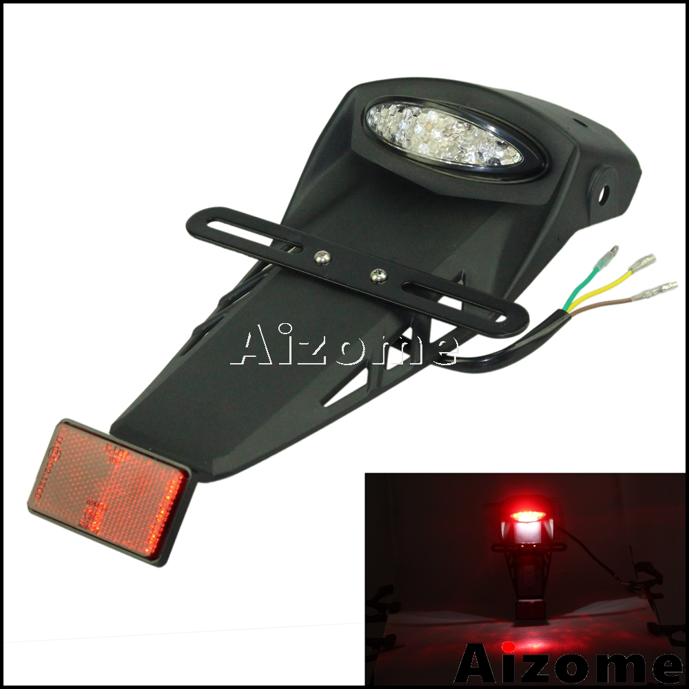 Motorcycle Dirt Bike Rear License Fender Enduro Mudguard W/ LED Tail Light For KLX KX KSR 50 110 150 250 450 WR CRM YZF 250 450