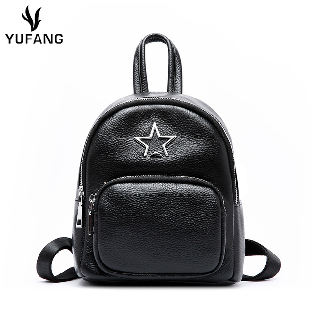 YUFANG Women Shoulder Bag Genuine Leather Backpack Female England Style  Backpack For Girls School Bags Zipper f6bed07d43398