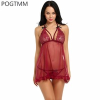 Lingerie Sexy Hot Erotic Sex Underwear Women Transparent Floral Lace Mesh Babydoll Bow Chemise Nightgown Female