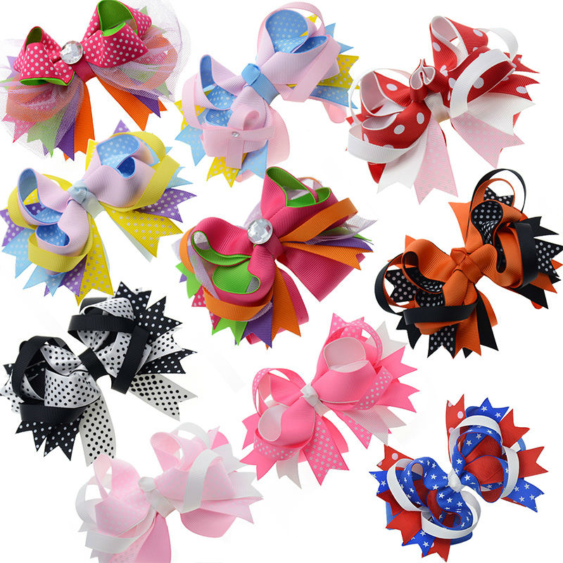 5 Large Stacked Girls Ribbon Boutique Hair bows Alligator Clips For Teens Kids Hair Clip Fashion Hair Accessories 10pcs/lot halloween party zombie skull skeleton hand bone claw hairpin punk hair clip for women girl hair accessories headwear 1 pcs