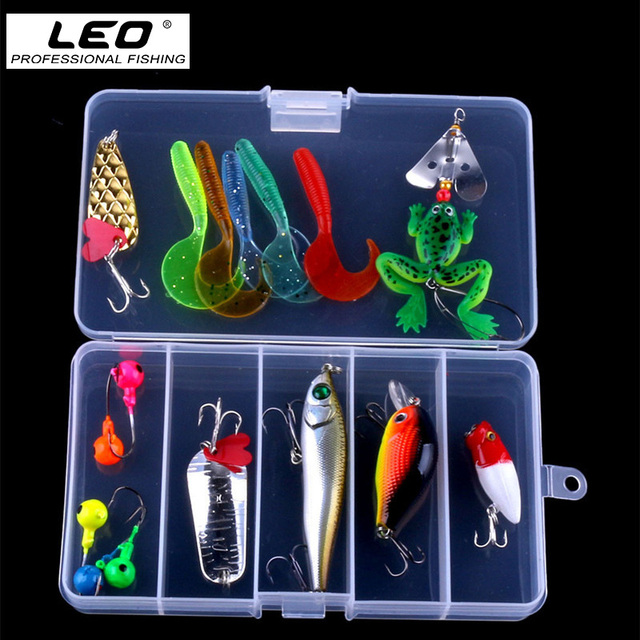 16pcs Multiple Types Fishing Lure Kit Soft Maggot Frog Spoon Minnow Popper Crankbait Pencil Lures Fishing Tackle Hot Sale