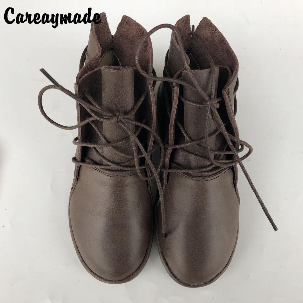 Careaymade ผู้หญิงรองเท้า, 2018 การออกแบบเดิมของแท้รองเท้าหนังผู้หญิง retro อารมณ์บริสุทธิ์รองเท้าทำด้วยมือ-ใน รองเท้าบูทหุ้มข้อ จาก รองเท้า บน   1