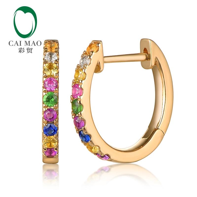 CAIMAO Coloré Naturel Pierres Précieuses Boucles D'oreilles Hoop 14 k Jaune Or Joaillerie pour les Femmes