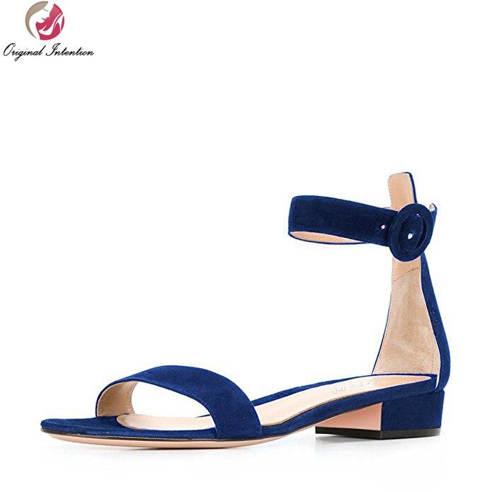 Первоначальное намерение женщины сандалии сексуальная открытым носком блок каблуки сандалии черный синий коричневый красное вино Красный обувь женщина плюс Размер США 4-15