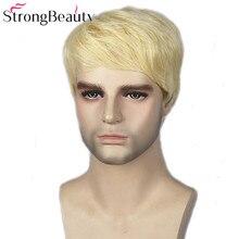 Sterke Beauty Gold Blonde Mannen Pruiken Synthetische Pruik Kort Haar Body Wave Pruiken