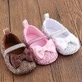 Recién nacido bowknot flor zapatos del pesebre del bebé zapatos de niño suela blanda antideslizante 0-18 m