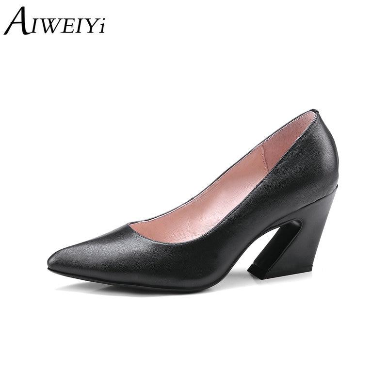 Resbalón Marrón Negro Negro Señoras Cuero Estrecha Las Auténtico En Aiweiyi  Zapatos Punta Boda Bombas Extraño Alto ... e2ab3b311b40
