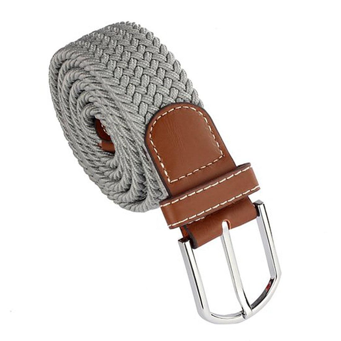Men Leather Braided Elastic Stretch Metal Buckle   Belt   Waistband Light gray