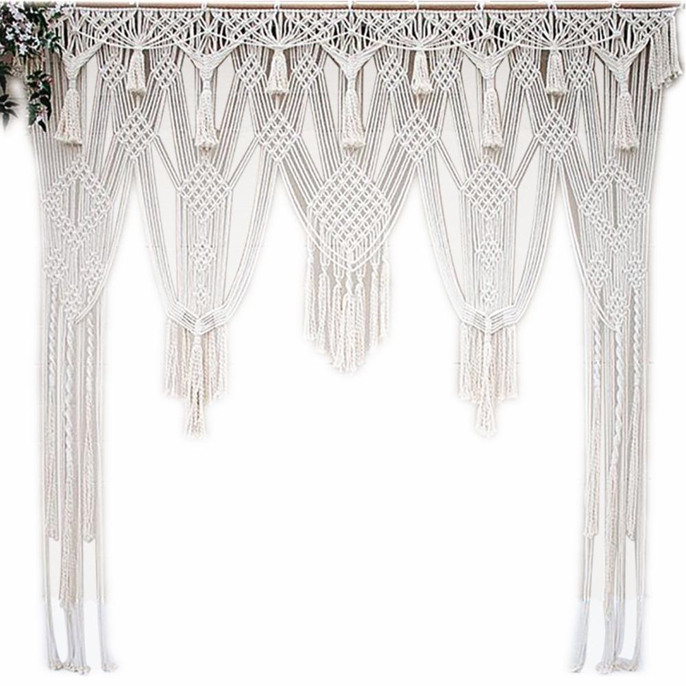 Biały czeski Macrame ręcznie na drutach liny bawełniane gobelin ściany wiszące Tapisserie Banner Tassel rękodzieło dekoracja wnętrz tekstylia w Gobeliny od Dom i ogród na  Grupa 1