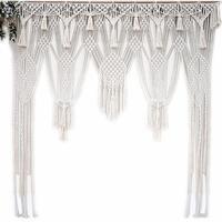 White Bohemian Macrame Handmade Knitting Cotton Rope Tapestry Wall Hanging Tapisserie Banner Tassel Craft Home Decor Textiles