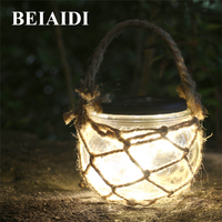 BEIAIDI 3pcs Retro Solar Candle Hanging Lantern Light Outdoor Mason Jar Bottle With Rope Garden Landscape