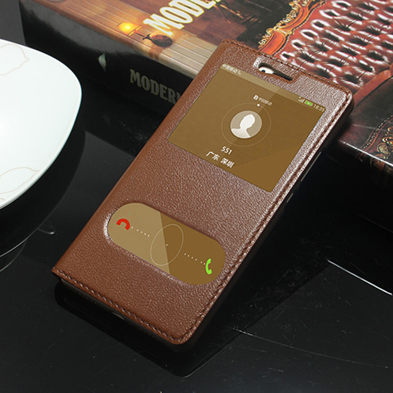 imágenes para Caso de la Cubierta de lujo Del Tirón Del Cuero Genuino Para Huawei Lite G9 P9 Teléfono Ventana de Visualización Fundas Coque
