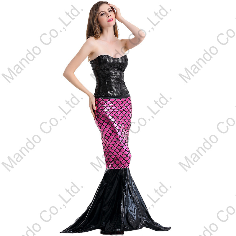 Women Black Rose Mermaid Cosplay Costume Fairy Tale Halloween Carnival Dress Fancy Girls Masquerade party costume Dresses