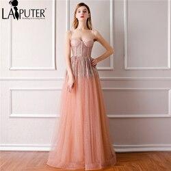 5076cb9b6dfbc LAIPUTER Sexy 2018 Pink Prom Dresses Long Spaghetti Sweetheart Neck  Bronzing A-line Evening Dresses Large Sizes