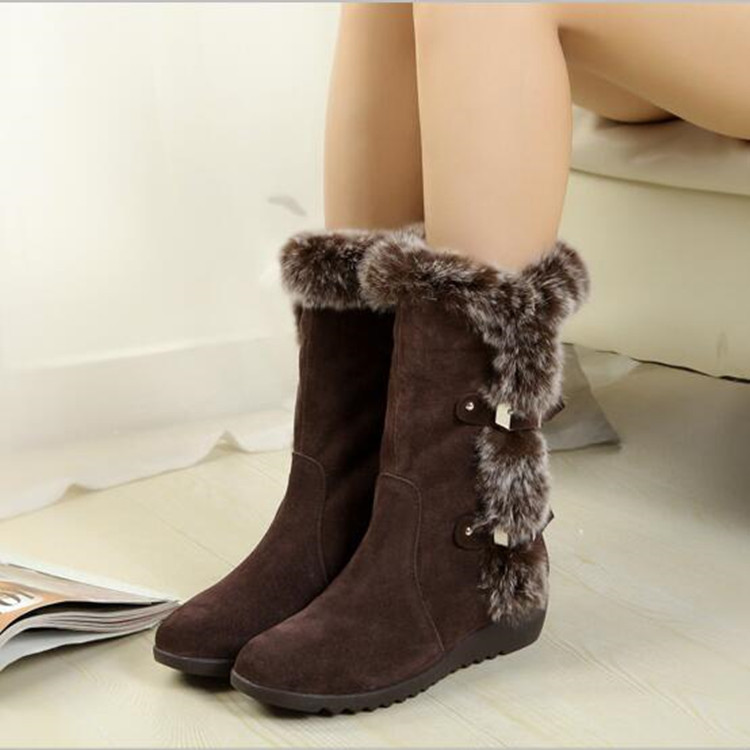 Fashion Warm Snow Shoes Hot Sale Flat Shoes Winter Rabbit Hair Boots New Women Mid-Calf Boots Women shoes zapatos mujer 2016 new warm snow boots women plush winter mid calf boots fashion wedding shoes brand lady botas flat shoes