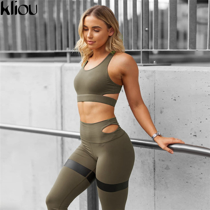 Kliou 2018 New Casual Women Tracksuits Sportwear Fashion Solid Fitness Sets Sexy Tank Bra Tops Sporting Leggings 2 Piece Suit