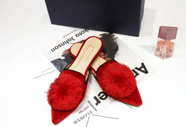 automne Bout Dehors Design En Mueller Chaussures Pantoufles Pointu Mode Femmes De Pic Daim Plat Pompon Du Pic Printemps as 2018 Défilé Européenne As Sv6Txq6d