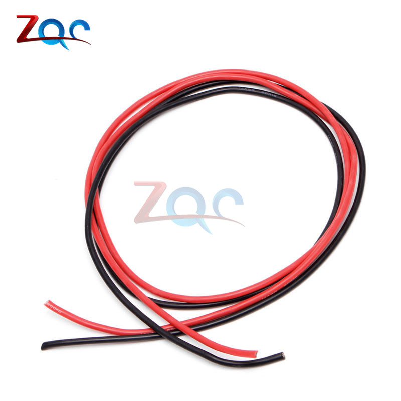 1set 14 AWG Gauge Wire Flexible Silicone Stranded Copper Cables For RC Black 1M + Red 1M = 2M 10 awg gauge 2m wire silicone flexible copper stranded cables for rc black red b116