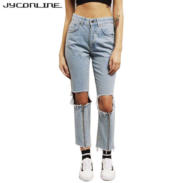 Aliexpress.com : Buy JYConline Big Hole High Waist Jeans Women ...
