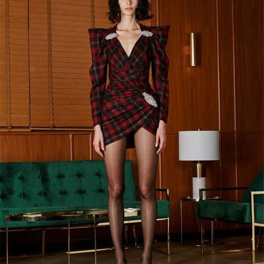 2019 Date Femmes Sexy robe avec col en v à manches longues Plaid Motif Croix Cristal Vintage Mini-robe Robes Slim Printemps Robes