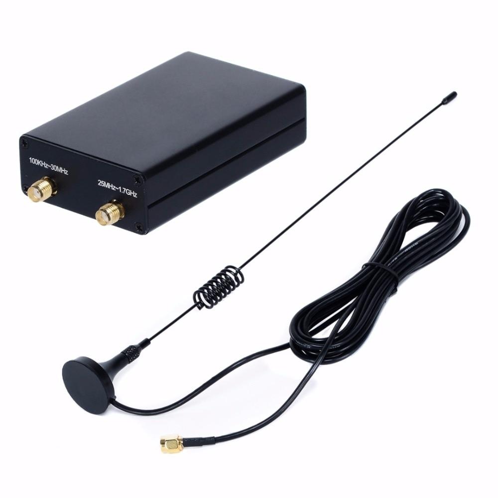100KHz-1.7GHz Full Band U/V HF RTL-SDR USB Tuner Receiver/ R820T + 8232 Radio rtl2832u r820t usb isdb t digital television receiver black white