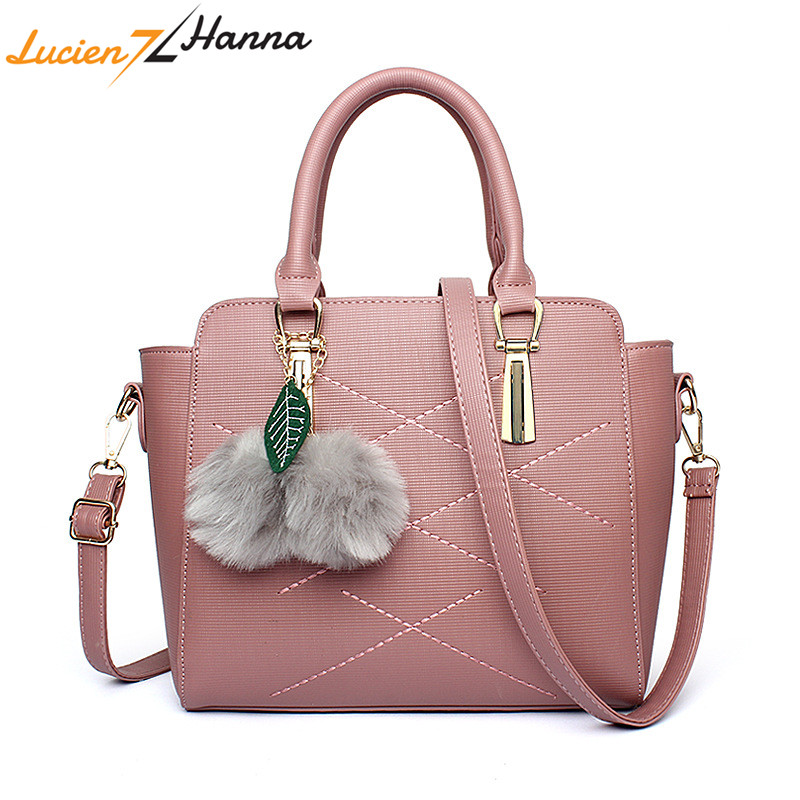 Women Top-handle Messenger Bag Solid Color Fashion PU Leather Handbag Female Crossbody Bags Fox Tassel Casual Tote with Fur Ball sweet women s crossbody bag with solid color and pu leather design
