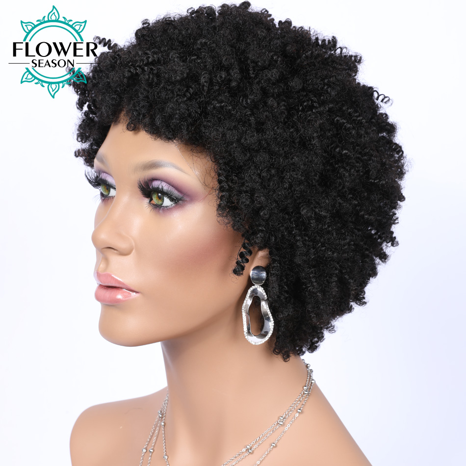 Sassy Curly Short Bob Wig Machine Made Human Hair Wigs Brazilian Remy Hair With Baby Hair #1B Color 6 Inches 150% For Women