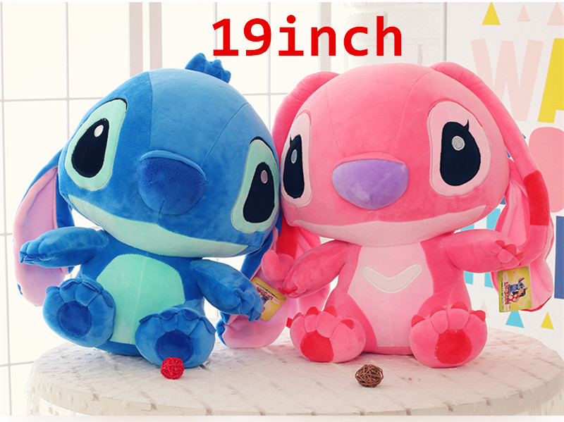 19 inch Height Giant Large toy Size Lilo Stitch Stuffed Animal Doll Plush Baby Soft Toys Soft Toy Pillow Valentine gift 30cm soft llama pillow cartoon sleeping alpaca plush toy fabric sheep stitch stuffed and soft animal toys for children gift