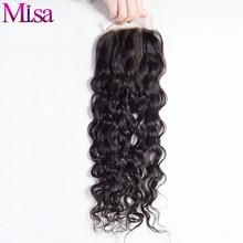 Ми Lisa волна воды закрытие три пути часть человеческих волос 4x4 закрытия шнурка 130% Плотность отбеленные узлы естественный цвет бесплатная до...(China (Mainland))