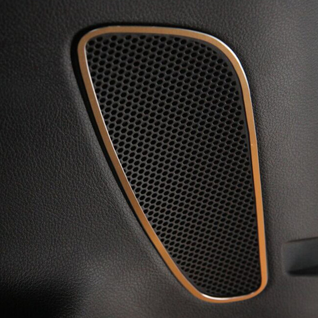 Car Interior Aluminum Alloy Accessories Sound Speaker Box Cover Trim Frame For Jeep Cherokee 2014-2015 2pcs per set