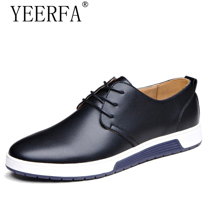 YIERFA Luxury Brand Men Shoes Casual Leather Fashion Trendy Black Blue Brown Flat Shoes for Men Drop Shipping size 38-46