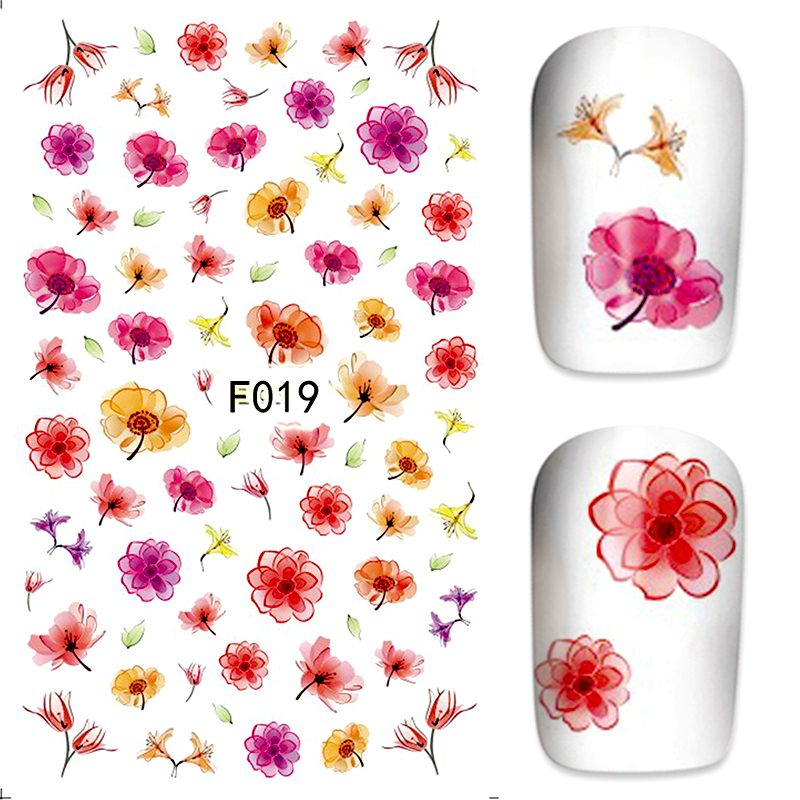 New 3D Nail Art Sticker Water Transfer Stickers Flower/Sexy Cat/Bow Decals Tips Decoration F011-F028 233 style new 8 pcs lot flower nail decals leopard nail art transfer foil sticker tips decoration christmas snow nails