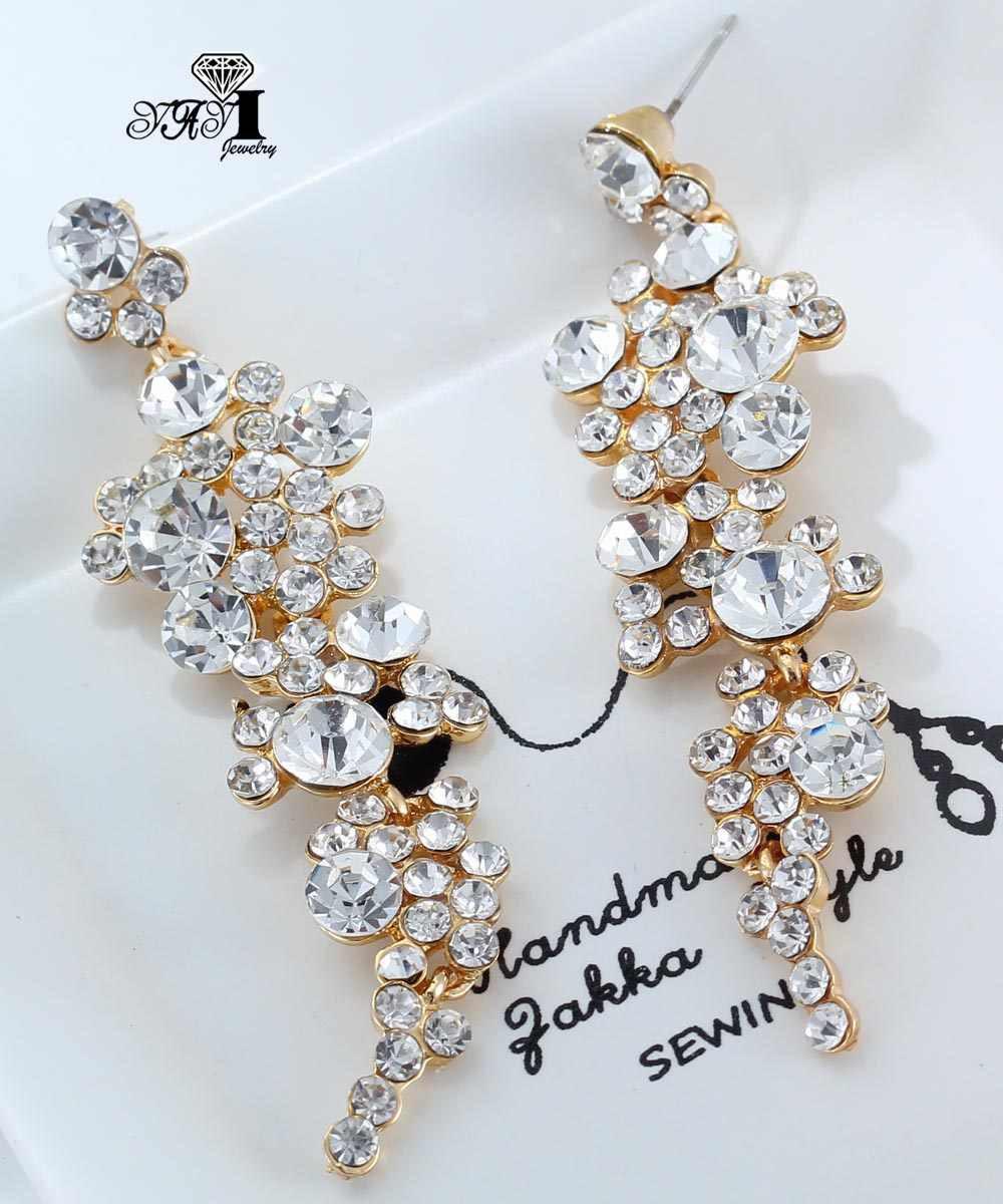 Yayi Perhiasan Baru Putih Berlian Imitasi Menjuntai Anting-Anting Kristal Wanita Kuno Warna Emas Permata Anting-Anting Hadiah 1030