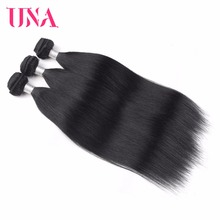 UNA Brazilian Straight Hair Bundles Natural Black Color 1/3/4 Deal 100% Human Non-Remy Extension