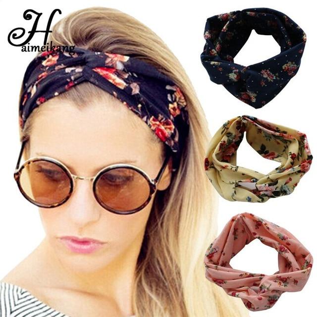 Haimeikang Winter Turban Headband Floral Prints Bandanas Korean Elastic Hair Bands Gum Hair for Girls Hair Accessories for Women