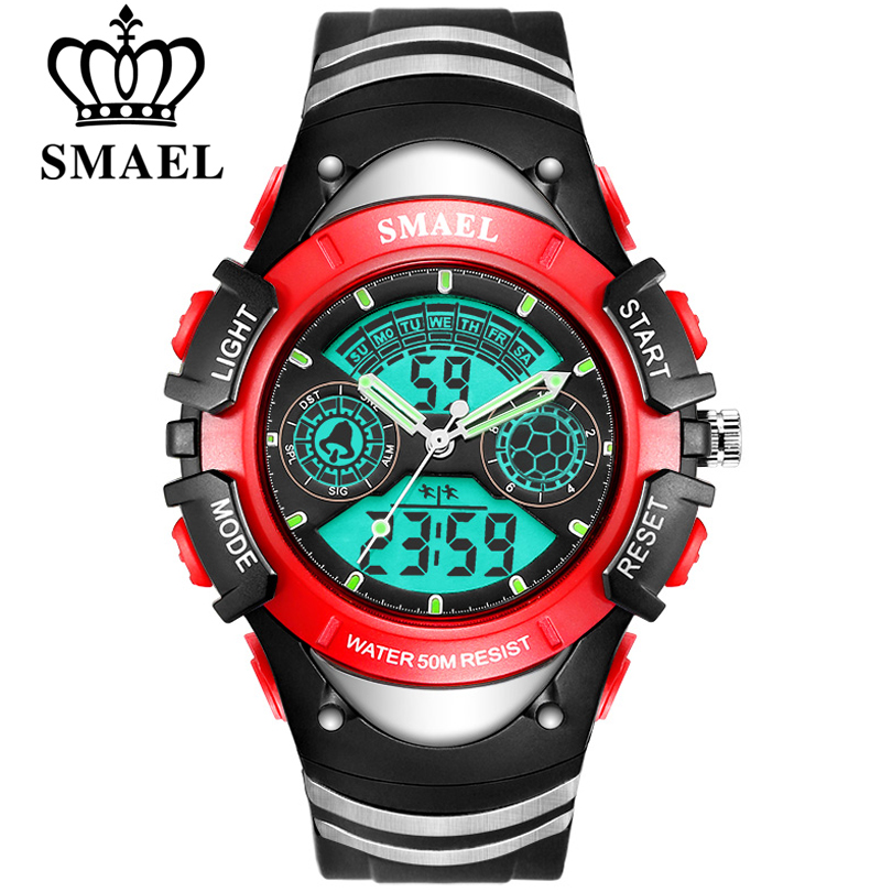 SMAEL Children Digital Sports Watch 50M Water Resistant Wrist Watches Children Mother's Choice Boys Girl Gift 4-13 Years Kids
