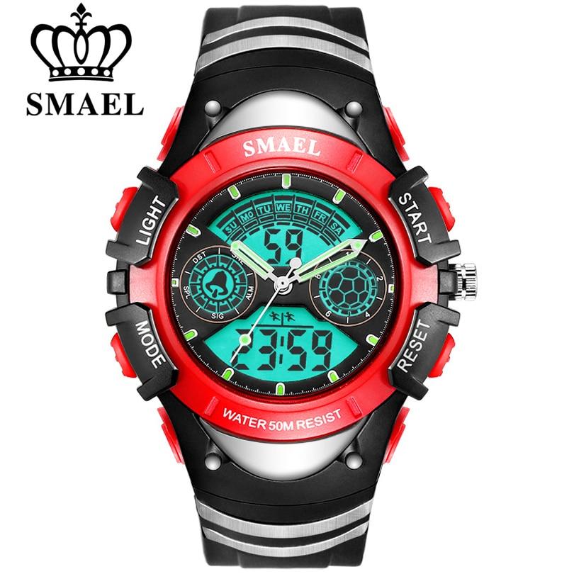 SMAEL Children Digital Sports Watch 50M Water Resistant Wrist Watches Children Mother's Choice Boys Girl Gift 4-13 Years Kids